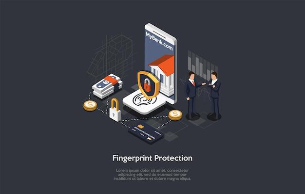 벡터 일러스트 레이 션, 만화 3d 스타일입니다. 어두운 배경에 아이소메트릭 구성입니다. figerprint 개인화 시스템, 계정 확인 프로세스, 금융 및 정보 보호 개념 설계.
