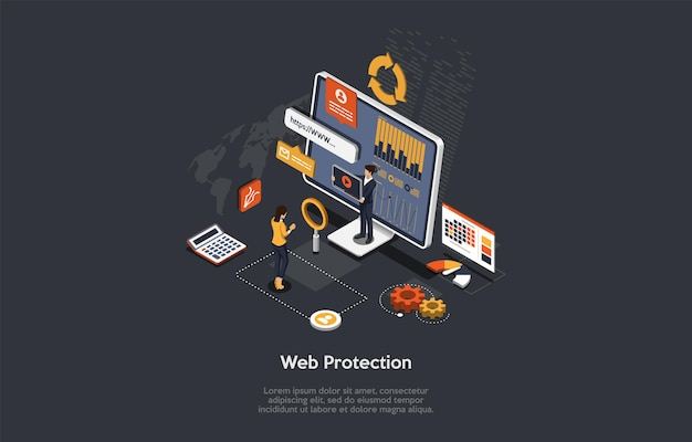 ベクトルイラスト、漫画の3dスタイル。暗い背景の等角投影図。ウェブサイト保護、インターネット安全サービス、データプライバシー、盗難の危険性の概念設計。コンピュータ画面、文字。