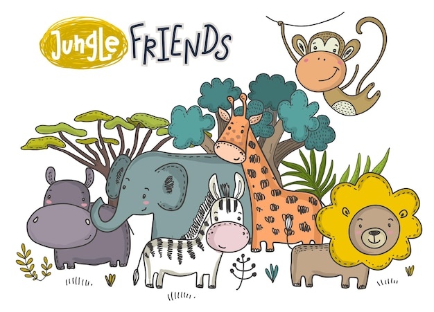 Vector illustration of cartoon african animals