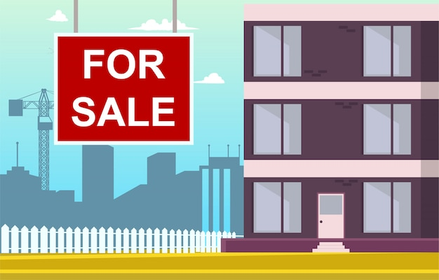 Векторная иллюстрация мультяшный квартира для продажи