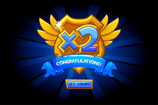 Vector illustration of cartoon bonus number on golden shield. award for the winner.