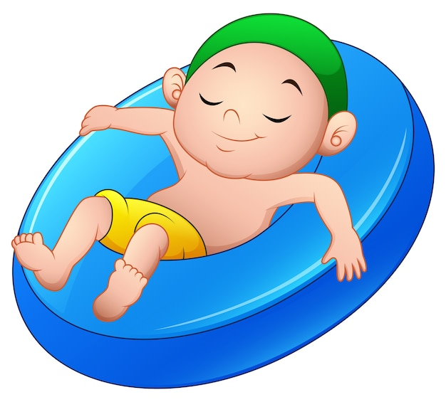 Vector illustration of cartoon boy relaxing above an inflatable ring