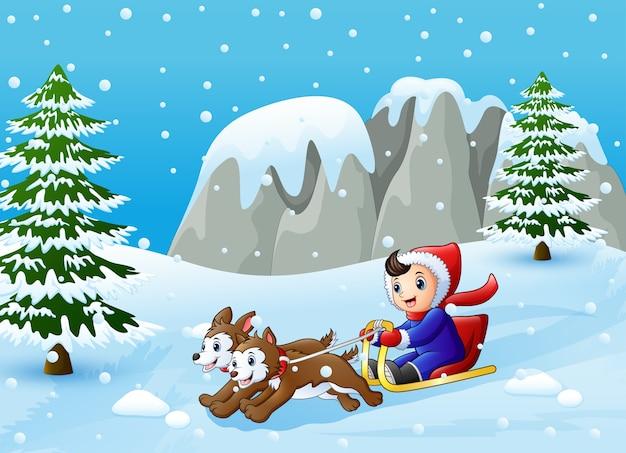 Vector illustration of cartoon boy riding sled