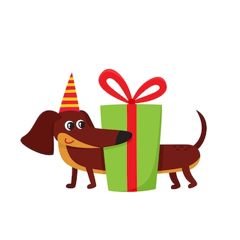 Vector illustration of cartoon brown funny dachshund isolated