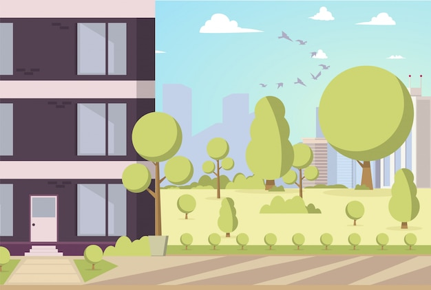 Vector illustration cartoon building in park area