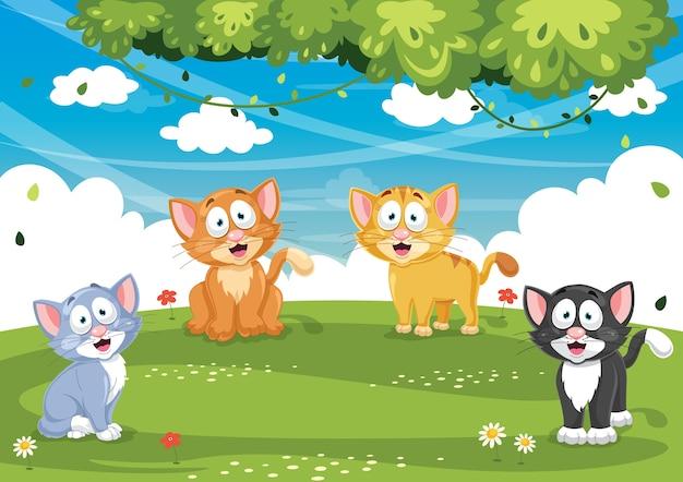 Vector illustration of cartoon cat