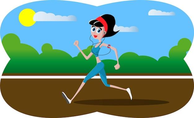 ベクトルイラスト-公園で実行されている漫画のキャラクターの運動少女。緑の背景に公園、木々や丘。 mp3プレーヤーでフィットネスランニングの女の子。漫画風のかわいいランニングガール。