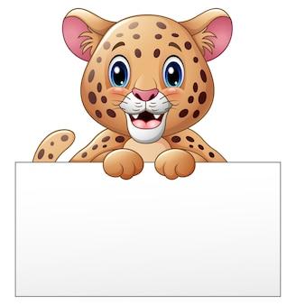 Vector illustration of cartoon cheetah with blank sign
