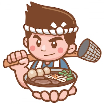 Vector illustration of cartoon chef noodles presenting food