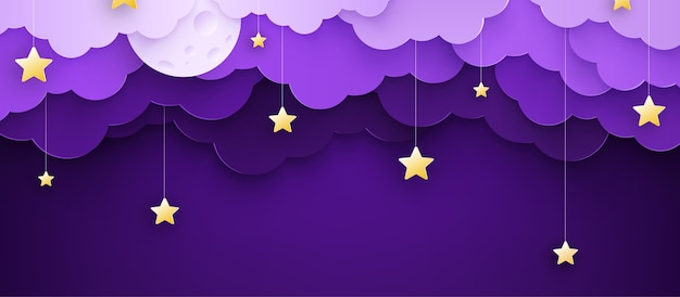 Vector illustration. cartoon childish background with clouds and stars on strings.