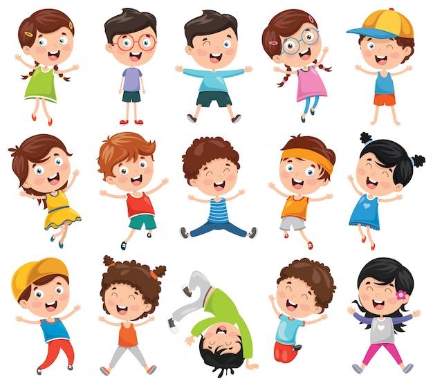 Vector illustration of cartoon children
