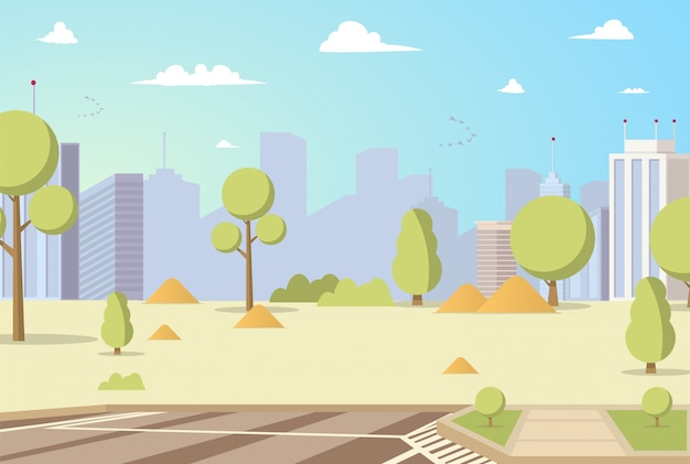 Vector illustration cartoon city park panoramas