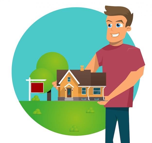 Векторная иллюстрация мультяшный концепция для продажи дома