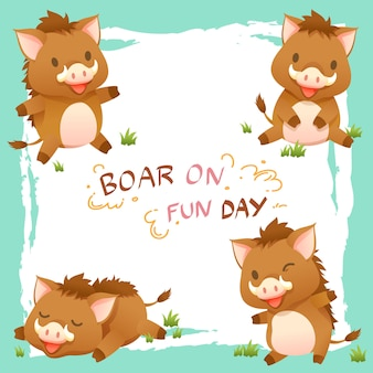 Vector illustration cartoon of cute pig, wild boar