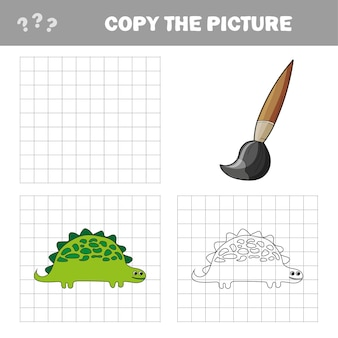 Vector illustration of cartoon dinosaur - coloring book and puzzle for kids