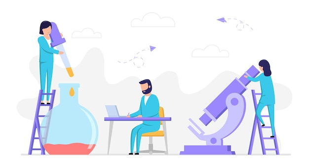 Vector illustration of cartoon doctors in abstract medical lab investigating. professional scientists in blue uniform working with big appliances dropper, flask, microscope. male and female character.