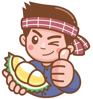 Vector illustration of cartoon durian seller presenting