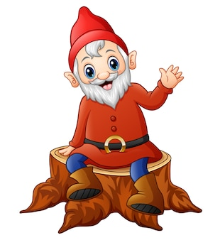 Vector illustration of cartoon dwarf sitting on tree stump