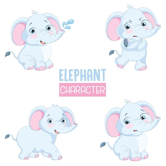 Vector illustration of cartoon elephants