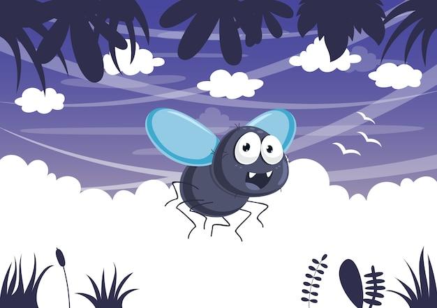 Vector illustration of cartoon fly