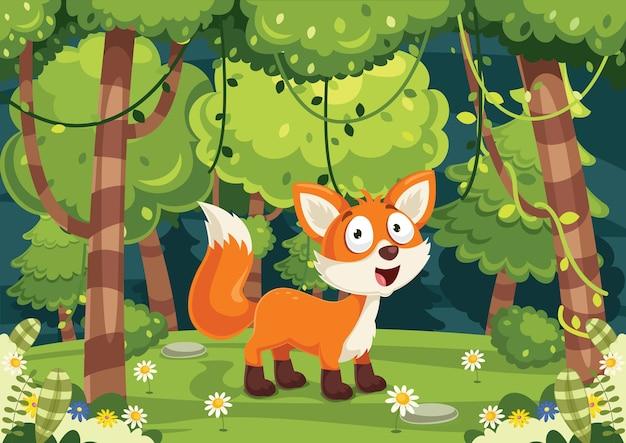 Vector illustration of cartoon fox