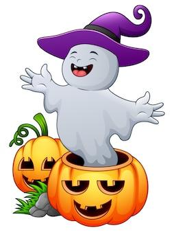Vector illustration of cartoon ghost with halloween pumpkins