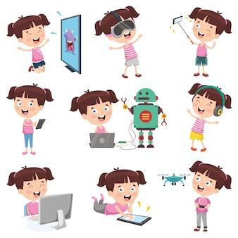 Vector illustration of cartoon girl doing various activities
