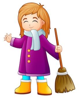 Vector illustration of cartoon girl holding a broom
