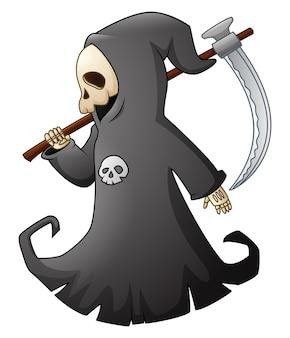 Vector illustration of cartoon grim reaper with scythe