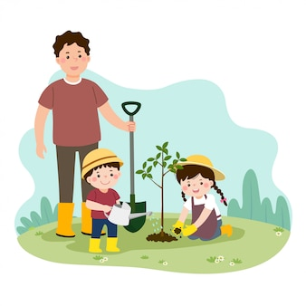 Vector illustration of a cartoon happy children helping their father planting the young tree.