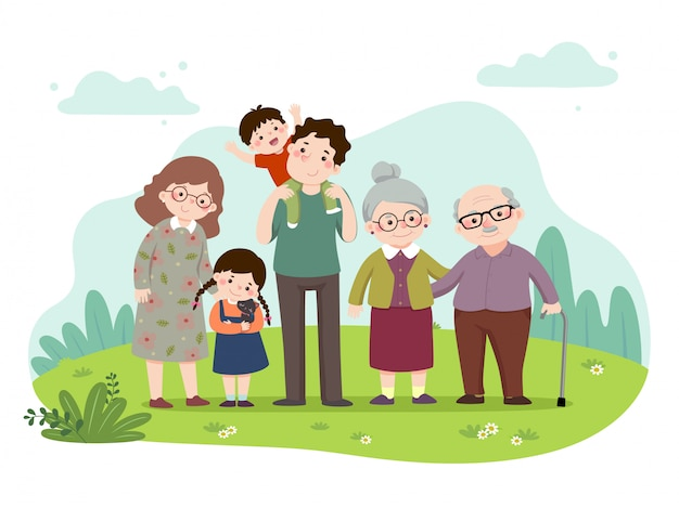 Vector illustration cartoon of a happy family in the park. mother, father, grandparents, and children with a cat. vector people.