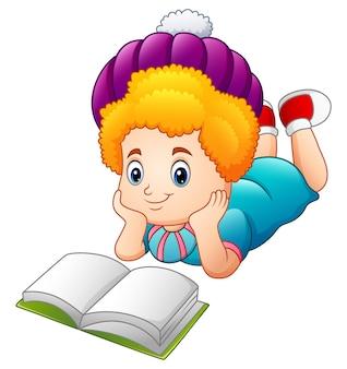Vector illustration of cartoon happy girl reading book