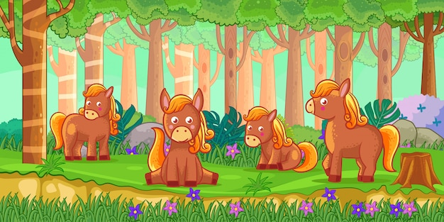 Vector illustration of cartoon horses in the jungle
