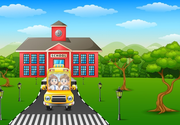 Vector illustration of cartoon kids are going to home