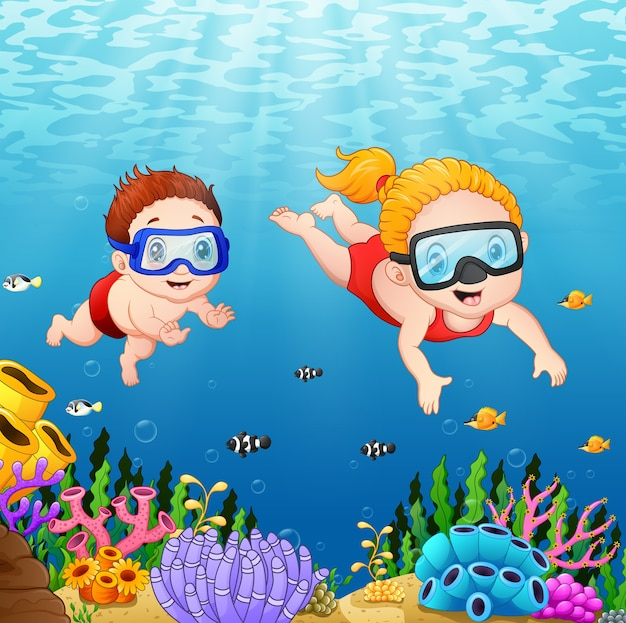 Vector illustration of cartoon kids diving underwater