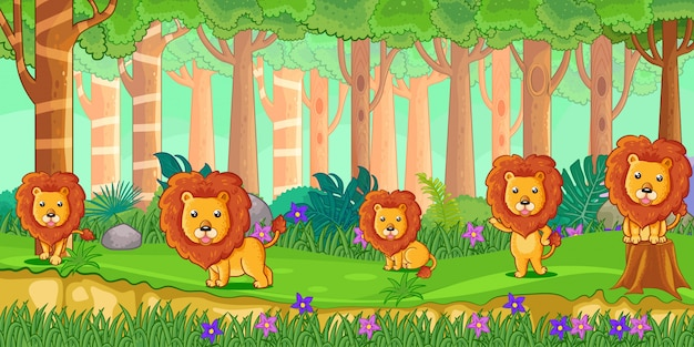 Vector illustration of cartoon lions in the jungle