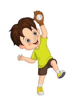 Vector illustration of cartoon little boy catching a ball