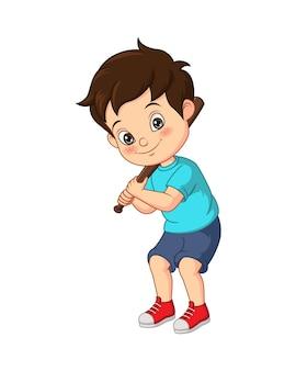 Vector illustration of cartoon little boy hitting ball with wooden bat