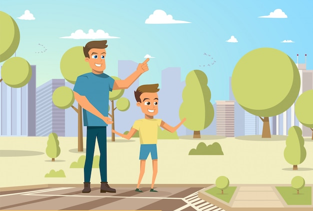 Vector illustration cartoon little boy and man