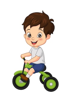 Vector illustration of cartoon little boy riding tricycle