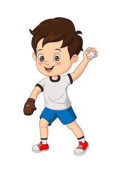 Vector illustration of cartoon little boy throwing a ball