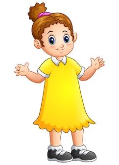 Vector illustration of cartoon little girl in yellow dress