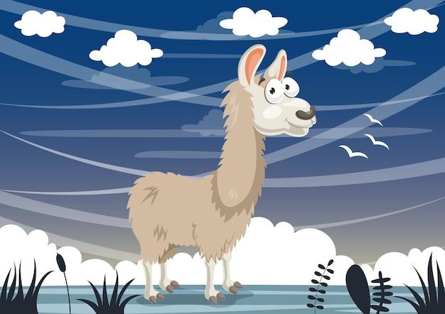 Vector illustration of cartoon llama