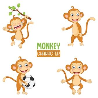 Vector illustration of cartoon monkeys
