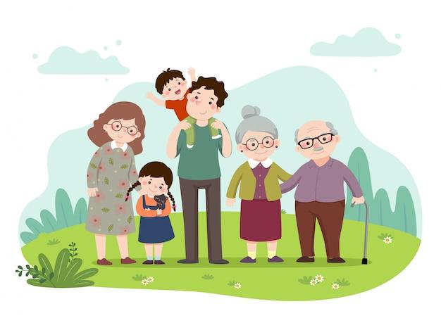 Векторные иллюстрации шарж счастливой семьи в парке. мать, отец, бабушка и дедушка и дети с кошкой. векторные люди.