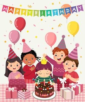 생일 파티에서 즐거운 시간을 보내는 아이들의 행복한 그룹의 벡터 그림 만화