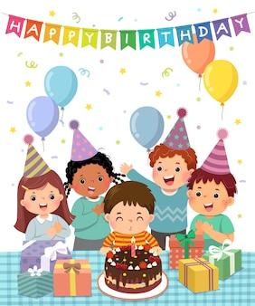 생일 파티에서 즐거운 시간을 보내는 행복한 아이들의 벡터 삽화 만화