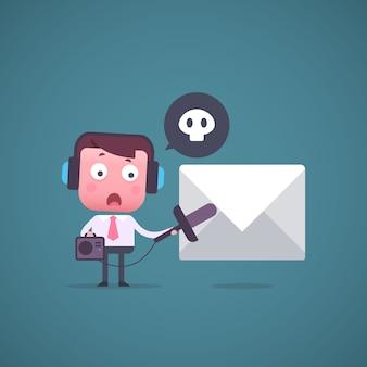 Vector illustration  cartoon office manager.