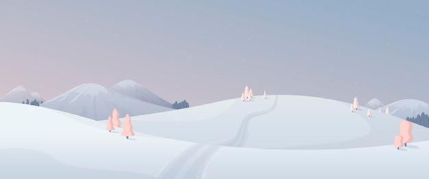 벡터 일러스트 레이 션. 파스텔 핑크와 블루의 겨울 자연의 만화 전경. 눈 덮인 봉우리, 나무, 전나무, 눈 덮인 언덕이 있는 산. 저 멀리로 이어지는 길, christmas