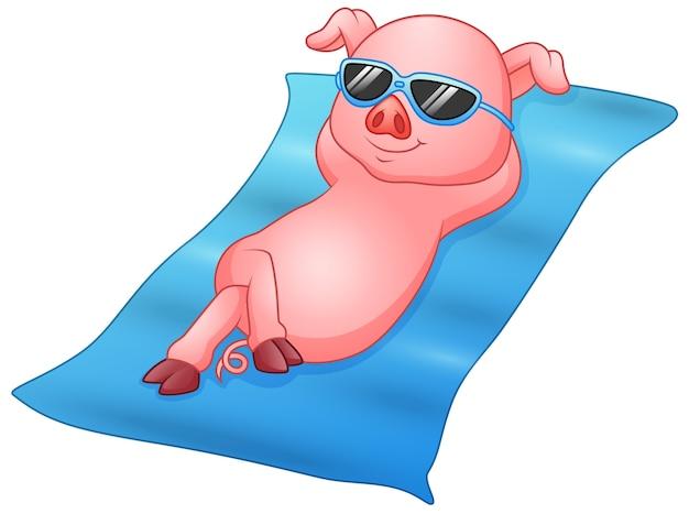 Vector illustration of cartoon piglets sunbathing on beach